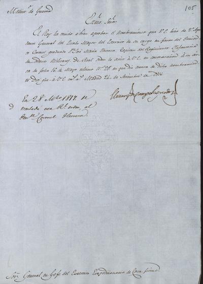 El Ministro, Camposagrado, comunica a Morillo que S. M. ha tenido a bien aprobar el nombramiento hecho del 2.° Ayudante General del Estado Mayor del Ejército de su cargo en favor del Teniente Coronel Graduado don José María Herrera. Madrid, 24 de noviembre de 1816.