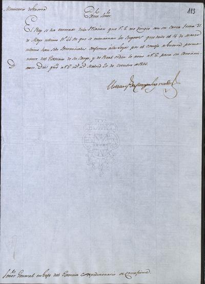 El Ministro, Camposagrado, comunica a Morillo que ha recibido la carta enviada en 31 de mayo último en la que especificaba los nombre de los condenados por el Consejo de Guerra permanente del Ejército Expedicionario. Madrid, 20 de octubre de 1816.