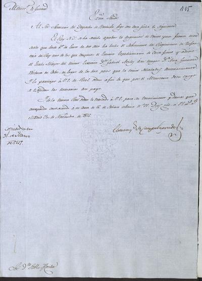 El Ministro, Camposagrado, a Morillo notificándole la aprobación de la asignación hecha por el Subteniente del Regimiento de Infantería del Rey del Ejército de Costafirme, don Gabriel Avilés, en doña Ana Gutiérrez, su mujer, residente en Cádiz. Madrid, 30 de noviembre de 1816.