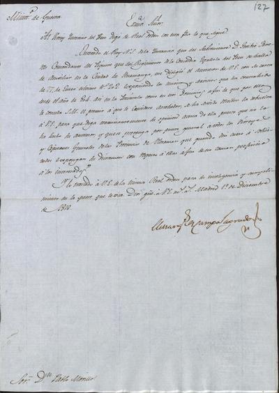 El Ministro Camposagrado, a Morillo, acerca de que dé su dictamen en relación con la instancia presentada por el Subteniente don Toribio Ferreras, Comandante del piquete del Regimiento de la Concordia Española del Perú. Madrid, 1 de diciembre de 1816.