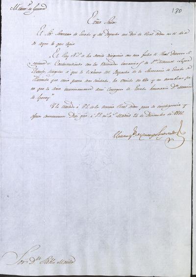 El Ministro Camposagrado, comunica a Morillo lo resuelto por S. M. en cuanto a la dimisión de don Manuel López Araujo, Secretario del Despacho de Hacienda, y al nombramiento en su lugar de don Martín de Garay. Madrid, 24 de diciembre de 1816.