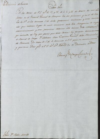 El Ministro Camposagrado, a Morillo sobre las noticias relativas a los últimos acontecimientos en la isla Margarita. Madrid, 30 de diciembre de 1816.