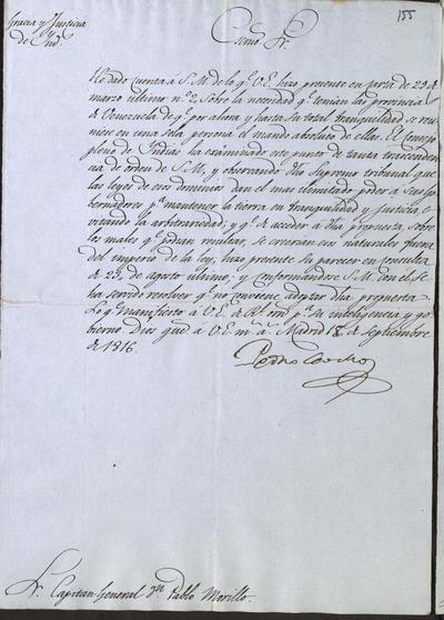 Oficio de Pedro Ceballos, Secretario de Gracia y Justicia de Indias, a Pablo Morillo, sobre la propuesta que hizo de que se reuniese en una sola persona el mando absoluto de las provincias de Venezuela. Madrid, 18 de septiembre de 1816.