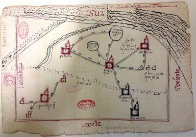 [Mapa de los pueblos de Cuauitlan, Pinotecpa, Potutla e Yctatepeg] [Material cartográfico]
