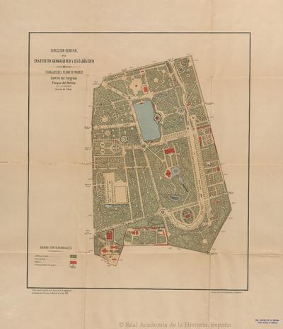 Plano del Parque del Retiro [Material cartográfico]Trabajos del plano de Madrid, Distrito del Congreso, Parque del Retiro