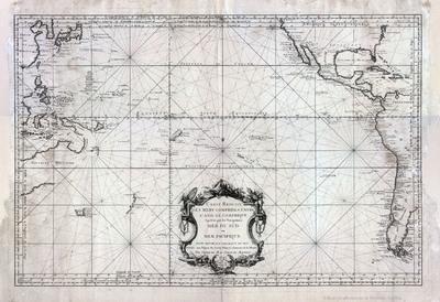 Carte Reduite des mers comprises entre L'Asie et L'Amerique. Apelées par les Navigateurs Mer du Sud ou Mer Pacifique pour servir aux vaisseaux du Roi [Material cartográfico]
