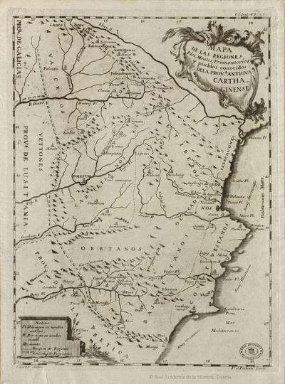 Mapa de las Regiones, Ríos, Montes, Promontorios y pueblos conocidos de la Provincia antigva Carthaginense [Material cartográfico]