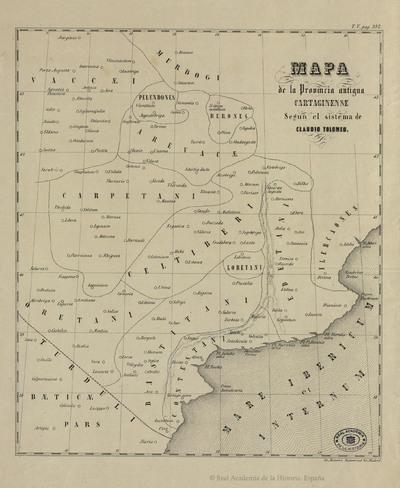 Mapa de la provincia antigua cartaginense según el sistema de Claudio Tolomeo [Material cartográfico]