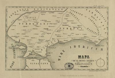 Mapa de la Betica antigua según el sistema de Tolomeo [Material cartográfico]