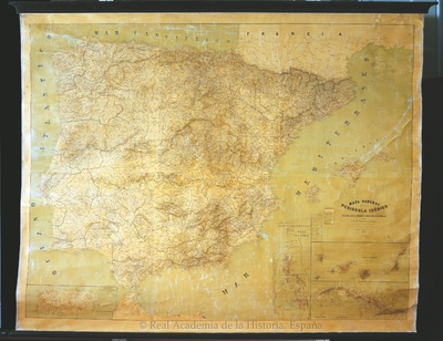 Mapa general de la Península Ibérica, islas Baleares, Canarias y posesiones españolas [Material cartográfico]