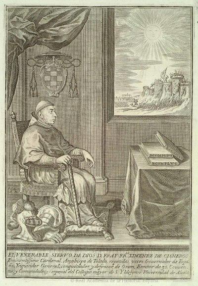 El Venerable siervo de Dios D. Fray Fr[ancis]co Ximenez de Cisneros, Eminentíssimo Cardenal Arçobispo de Toledo [Material gráfico no proyectable]