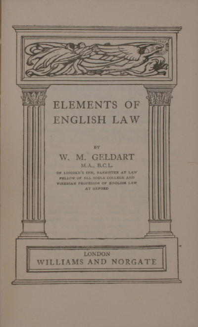 Elements of the english law