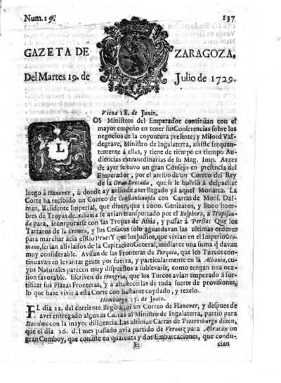 Gazeta de Zaragoza del martes 19 de julio de 1729