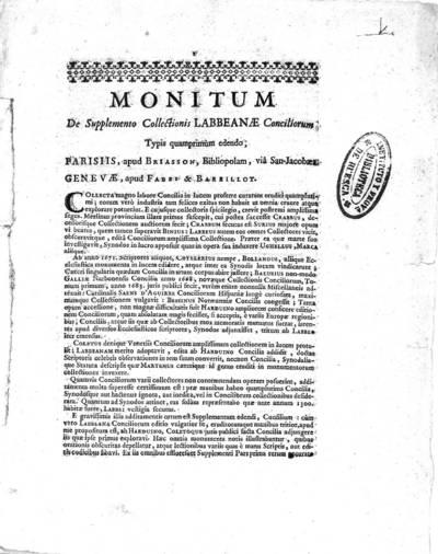 Monitum : De Supplemento Collectionis Labbeanae Conciliorum