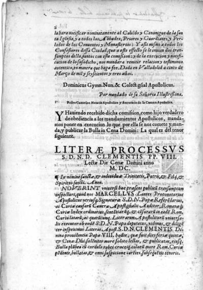 Litetae Processus S.D.N.D. Clementis PP. VIII lectae die Cenae Domini anno MDC