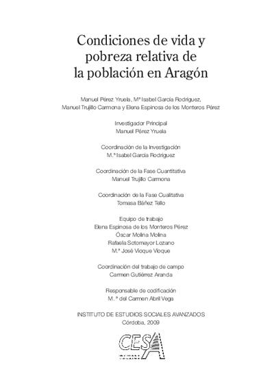 Condiciones de vida y pobreza relativa de la población en Aragón / Manuel Pérez Yruela... [et al.].