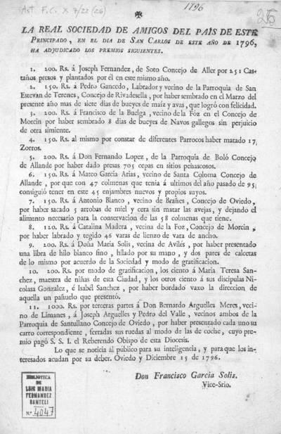 La Real Sociedad de Amigos del País de este Principado, en el día de San Carlos de este año de 1796, ha adjudicado los premios siguientes ... Oviedo y diciembre 15 de 1796