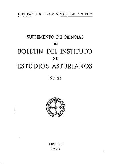 Boletín del Instituto de Estudios Asturianos (Suplemento de Ciencias): Año XV Número 23 - 1978