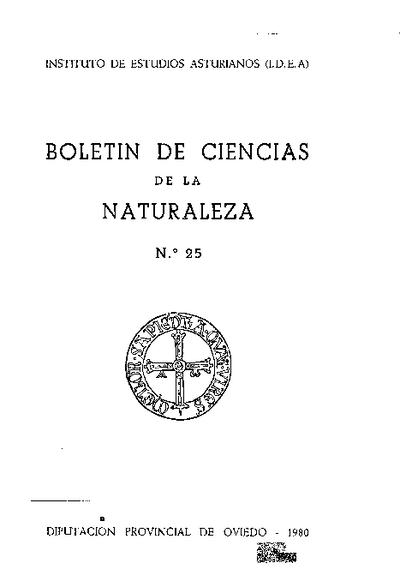Boletín del Instituto de Estudios Asturianos (Suplemento de Ciencias): Año XVII Número 25 - 1980