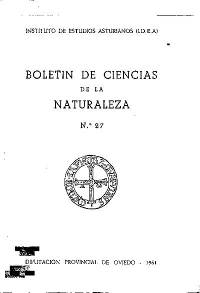 Boletín del Instituto de Estudios Asturianos (Suplemento de Ciencias): Año XVIII Número 27 - 1981