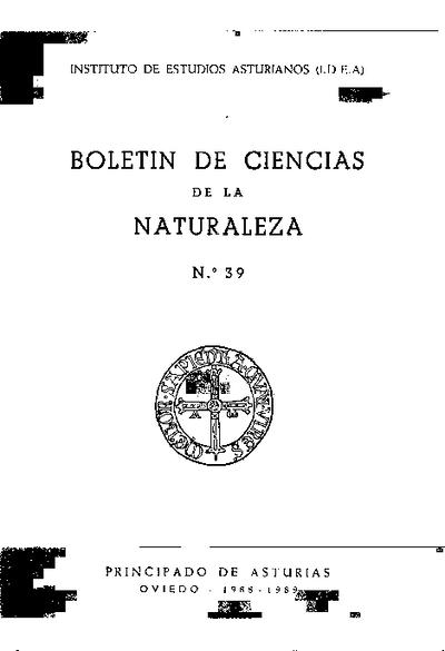 Boletín del Instituto de Estudios Asturianos (Suplemento de Ciencias): Año XXIV Número 39 - 1988