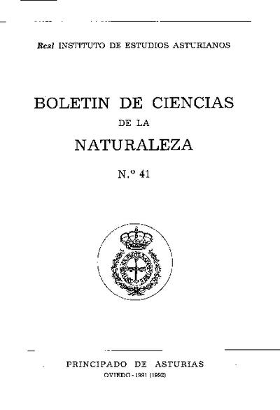 Boletín del Instituto de Estudios Asturianos (Suplemento de Ciencias): Año XXVI Número 41 - 1991