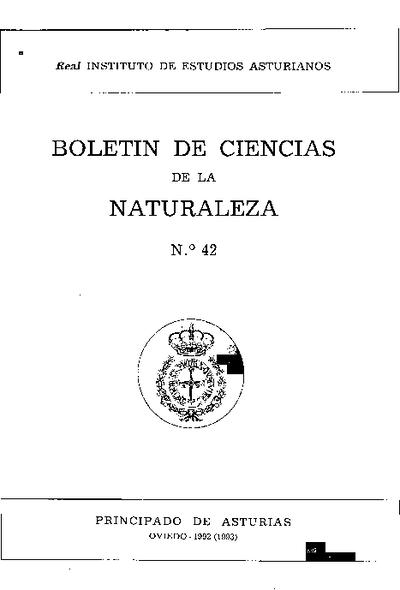 Boletín del Instituto de Estudios Asturianos (Suplemento de Ciencias): Año XXVII Número 42 - 1992