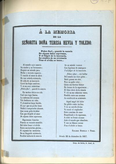 A la memoria de la señorita doña Teresa Hevia y Toledo