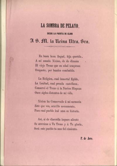 La sombra de Pelayo, desde la puerta de Gijón : a S.M. la Reina Ntra. Sra.