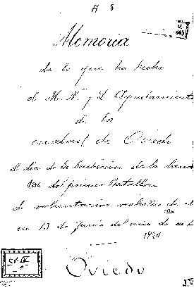 Memoria de lo que ha hecho el M. N. y L. Ayuntamiento de la ciudad de Oviedo el día de la bendición de la bandera del primer batallón de voluntarios realistas de ella en 13 de junio del año de 1824