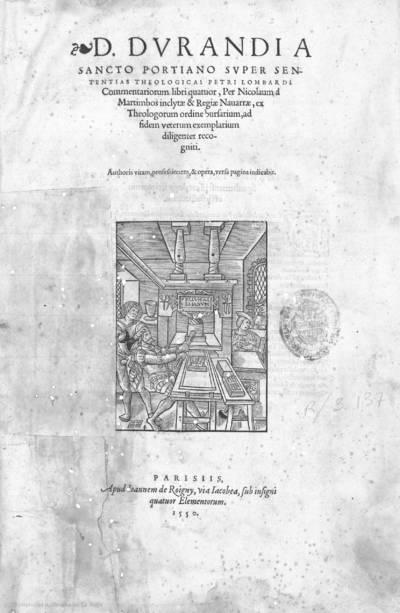 D. Durandi a Sancto Portiano Super sententias theologicas Petri Lombardi commentariorum libri quatuor