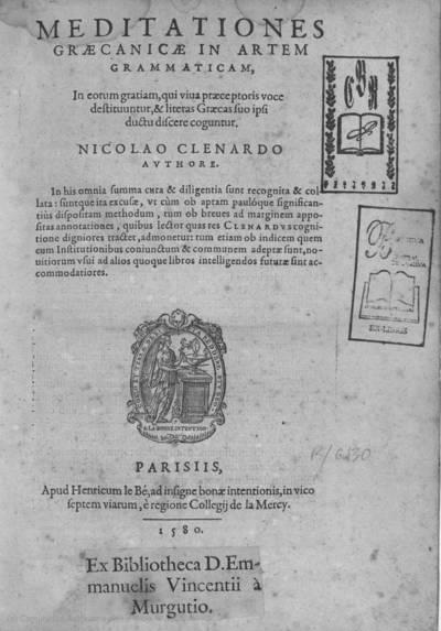 Meditationes graecanicae in artem gramaticam ...