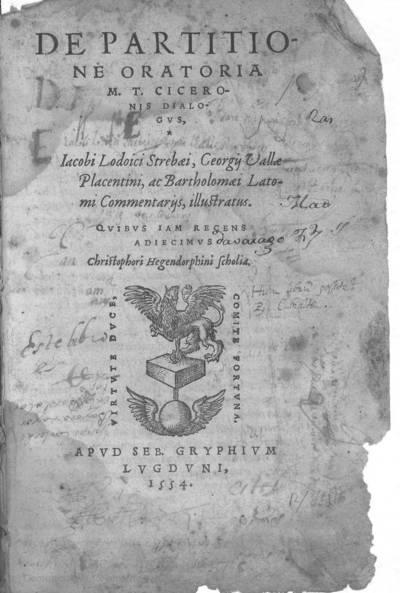 De Partitione oratoria M.T. Ciceronis dialogus, Iacobi Lodoici Strebaei, Georgii Vallae...