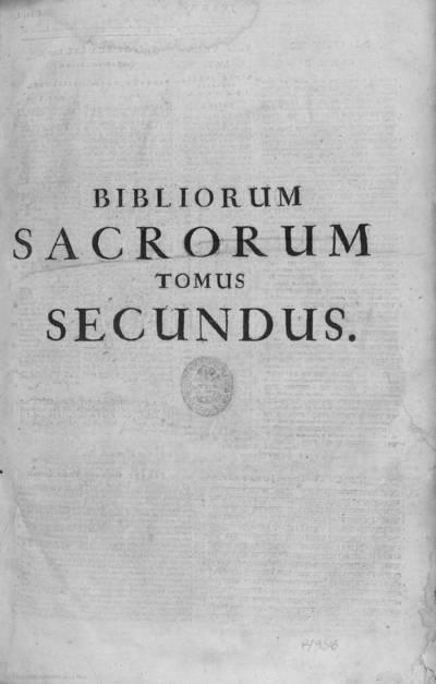 Bibliorum sacrorum tomus secundus