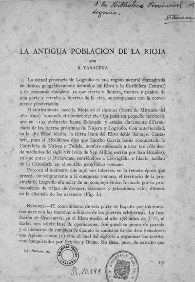 La antigua población de La Rioja