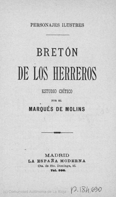 Bretón de los Herreros : estudio crítico
