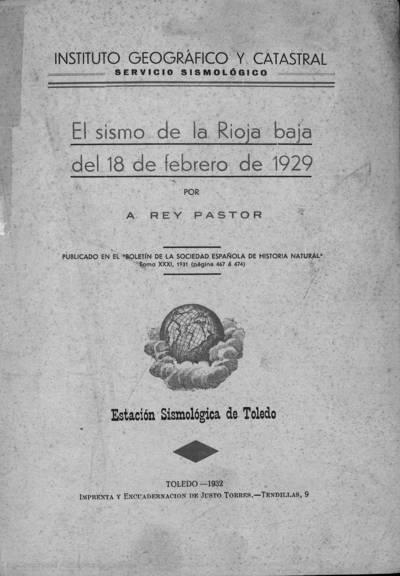 El sismo de la Rioja baja del 18 de febrero de 1929