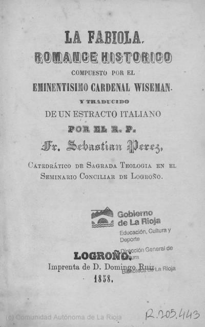 La fabiola : romance histórico