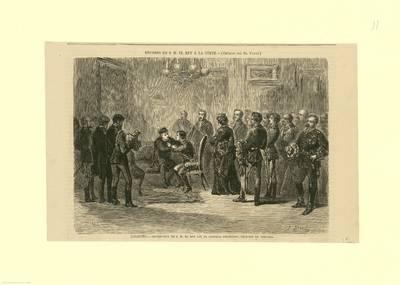 Logroño, entrevista de S.M. el Rey con el General Espartero, Príncipe de Vergara [Material gráfico] : regreso de S. M. el rey a la Corte
