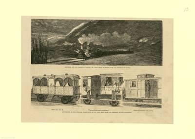 Agresión de los Carlistas contra el Tren Real al pasar por las Conchas de Haro [Material gráfico] ; Indicación de los efectos producidos en el tren real por los disparos de los carlistas