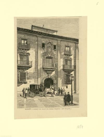 Logroño, exterior del palacio del general Espartero [Material gráfico]