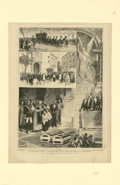 Logroño, traslación de los restos mortales del general Espartero y su esposa al Mausoleo de la iglesia de Nuestra Señora de la Redonda... [Material gráfico]