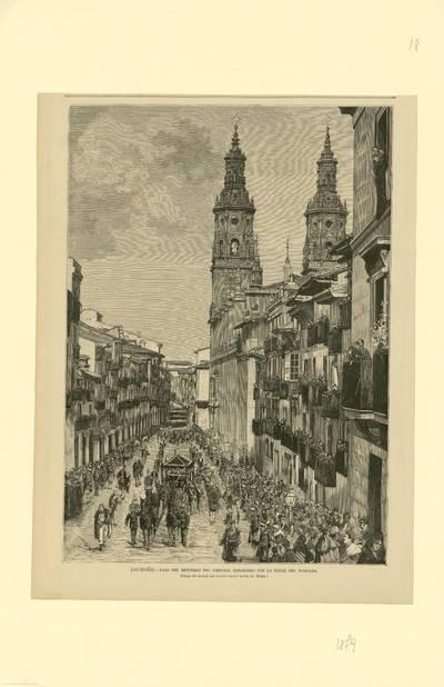Logroño, paso del entierro del general Espartero por la calle del Mercado [Material gráfico]
