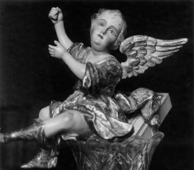 Angel policromado del trono de la Virgen del Rosario [Material gráfico] : de la Iglesia de Santo Domingo de Antequera