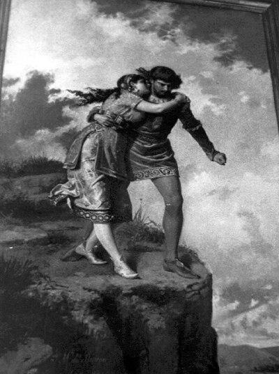La Peña de los Enamorados [Material gráfico] : pintura de Serafín Martínez del Rincón, ubicada en el Ayuntamiento