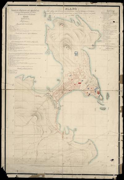 Plano de la plaza de la Coruña y sus inmediaciones hasta la distancia de 20 [...] pies : copiado del que ecsiste en esta Comandancia su autor D. José Velarde sin fecha en 1812