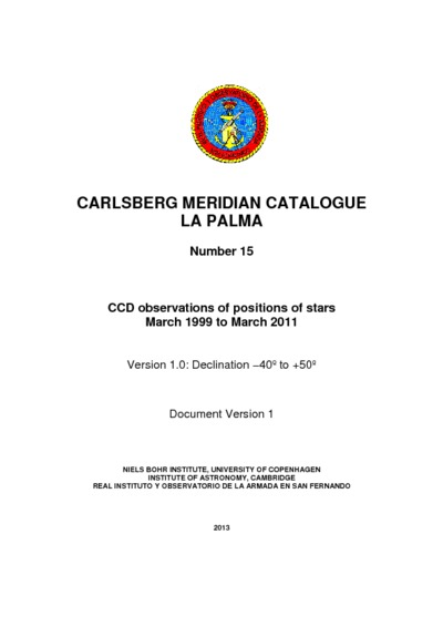 Carlsberg meridian catalogue La Palma... : observations of positions of stars and planets made in the year ...