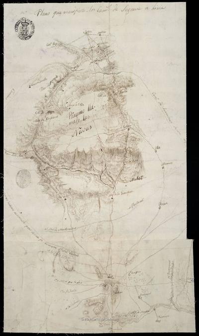 Plano que manifiesta los Caminos de Segorve a Liria
