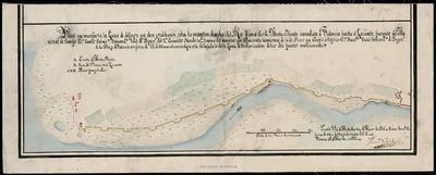 Plano que manifiesta la linea de defensa que deve establecerse sobre la margen derecha del Rio Turia desde Monte - Olivete inmediato a Valencia hasta el Lazareto