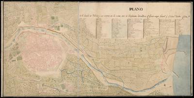 Plano de la ciudad de Valencia y sus contornos con las nuebas obras de fortificación
